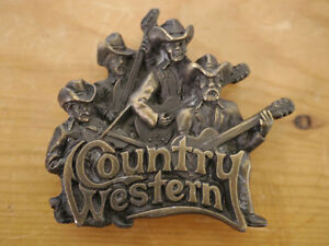Vintage 1981 Solid Brass COUNTRY WESTERN Music Cowboy Rodeo Belt Buckle Bergamot