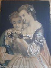 paire peintures 19èmes gouache.....