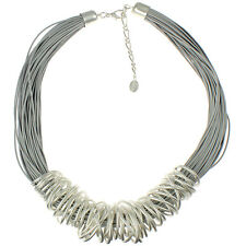 Silver chunky spiral wrap grey leather cord choker necklace fashion jewellery