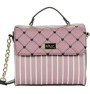 Luv BETSEY JOHNSON Satchel Crossbody Top handle plum/Stripes Quilted hearts  bag