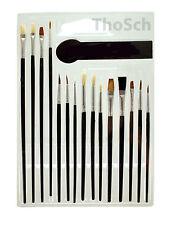 15-tlg Pinsel Set Malpinsel Satz Pinsel Sortiment Schulpinsel Rundpinsel 662125