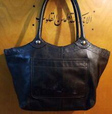 Coach Bleecker Legacy Black Leather Satchel Shoulder Bag Tote Handbag F14383