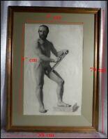 Autoportrait d'un Peintre Nu XIXe Nu Masculin Homme Nu Dessin Original Dédicacé