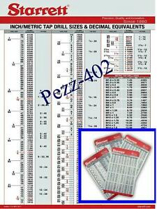 Starrett Decimal Metric Tap Drill Machinist Wall Chart & Pocket Cards (20)