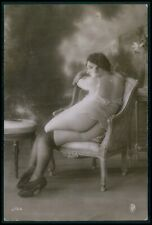 a23 French nude woman 2nd choice condition original c1900-1920s photo postcard