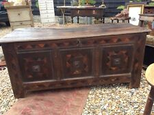 Period Oak Parquetry Inlaid Oak Coffer 17th Century Blanket Chest Coffer