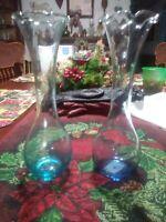 Set Of 2 Blue Glass Bud Vases
