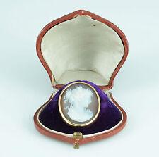 Exzellente Achat Kamee Flora Cameo Gold um 1870 Brosche Lagen Stein Frankreich