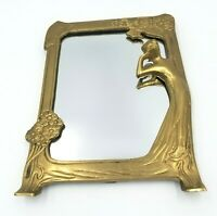 "Vintage Art Nouveau Brass Table Mirror with Easel 9"" H Woman Looking at Herself"