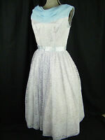 Vtg 50s Lilac Lace Sleeveless Party Dress w/ Blue Collar-Bust 34/ XS-S