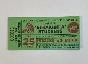 1983 Atlanta Braves v Pittsburgh Pirates Ticket Stub Fulton Co Stadium 5/25/83