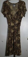 Caribou Brown Wild Cat Print Poly Blend Wrap Bodice Dress -Misses Size 1X-NWOT