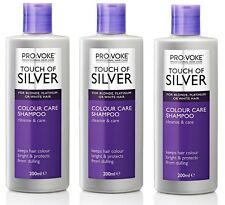 3x Provoke Touch Of Silver Silver Colour Care SHAMPOO Grey, White Hair 200ml