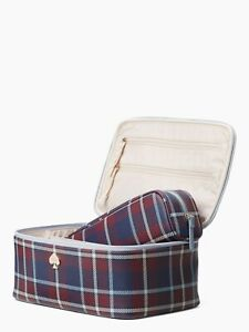 NEW Kate Spade Large Colin Cobblestone Park Travel Plaid 2PC Makeup Cosmetic Bag