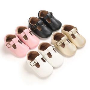 Newborn Gift Baby Boy Girl T-Bar Pram Shoes Rubber Sole PreWalker Trainers 0-18M