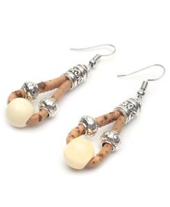 Ivory Bead Natural Cork Drop Earrings / Natural Cork Eco Vegan Earrings