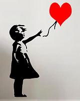 bansky inspired heart wall and car art decal vinyl sticker decall