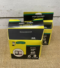 2 Pkg Of HP 60 Dual Pack Black & Tri-color Remanufactured By Inkjet For Dummies