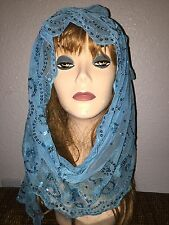 Long Turquoise Scarf Hijab Sequins Wrap Sheer pretty and fashionable Last1's