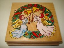 CHRISTMAS ANGELS 100mm WOODEN RUBBER INK STAMP CRAFT GIFT SCRAPBOOK CARD MAKING