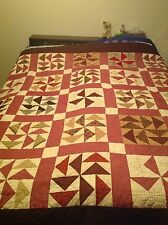 Homemade Machine Quilted Flying Geese And Pinwheels Pattern 80 X 82 Double Size
