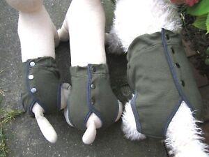 Hunde Schutzhöschen Schutzhose bei Läufigkeit Olivgrün Baumwolle Neu XS bis 3XL