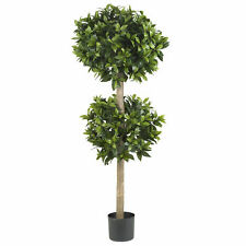 "Sweet Bay Double Ball Topiary Silk Tree Realistic Nearly Natural 57"" Home Decor"