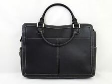 Franklin Covey Black Leather Laptop Briefcase Business Travel Tote Carry On Bag