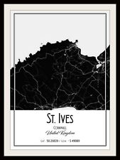ST. IVES CORNWALL MAP POSTER PRINT MODERN CONTEMPORARY TRAVEL IKEA FRAMES CITIES