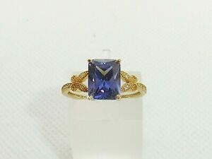 Ladies 18 Carat Gold & Sterling 925 Solid Silver Tanzanite & White Sapphire Ring