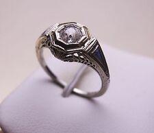 VINTAGE ANTIQUE 18K WHITE GOLD .47CT OLD MINER DIAMOND ENGAGEMENT RING SZ 6 3/4