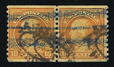 GENUINE SCOTT #497 F-VF USED 1922 ORANGE YELLOW PERF-10 UNWMK COIL PAIR #7307