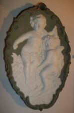 Antique Victorian Style Oval Sage Green Jasperware Wall Plaque Cherubs and Roses