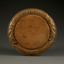 More details for collectable carved victorian bread board with 'welcome', 2 wheat, 4 ivy, ribbon