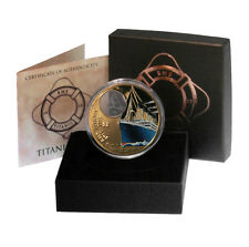 BVI RMS Titanic Embedded Crystal $2 2012 Proof Colored Bronze Coin Mint Box & CO