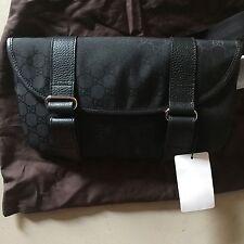 New Gucci 374617 GG Logo Black Nylon Small Fanny Pack Waist Travel Bag