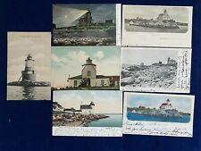 7 - 1907 - ANTIQUE RHODE ISLAND LIGHTHOUSE  POSTCARDS - BRISTOL FERRY + OTHERS