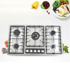 Built-In 5 Burners Stove Top NG LPG Gas Cooktop Kitchen Cooking Easy Clean 34