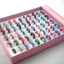 50pcs/Lot Fashion Polymer Clay Rings For Children 6mm Width Kid's Ring