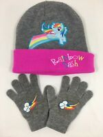 Rainbow Dash My Little Pony Girls Kids Scully Hat Cap Gloves Set Pink Gray Set