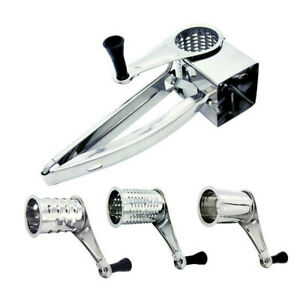 Multifunction Hand Held Cut Rotary Cheese Grater Slicer 4 Set Stainless Steel