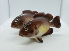 Vintage Rock Bass Fish Brown Salt And Pepper Shaker Set Japan 4.5""