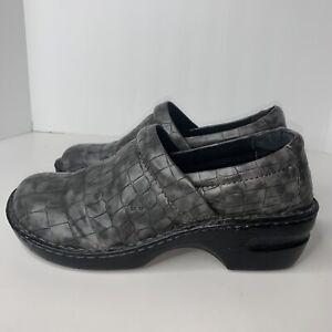 BOC BORN Womens Sz 10M Alligator Clogs Shoes Slip On Gray