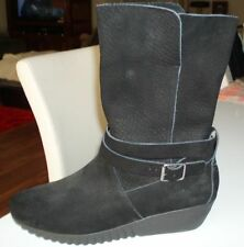 Suede Wedge Mid-Calf Women's Boots