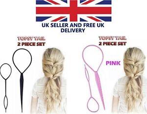 Topsy Tail Hair Braid Ponytail Maker Styling Tool Hair Accessories 2pcs UK Set