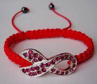 Crystal Pink Ribbon Breast Cancer Awareness Shamballa Bracelet Gift Jewelry
