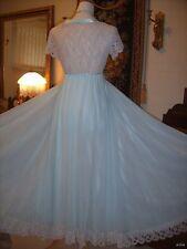 Vtg Claire Sandra by Lucie Ann French Alencon Deep Lace Nightgown Robe Peignoir