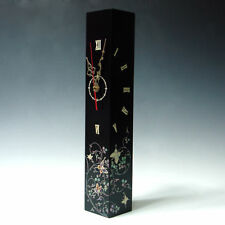 Mother of Pearl Inlaid Butterfly Square Wall Hanging Black Wood Art Deco Clock