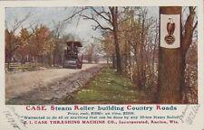 1910 Postcard - Case Steam Roller Building Country Roads - Racine Wisconsin
