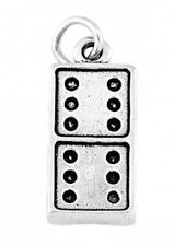 STERLING SILVER DOMINO PIECE CHARM W/ ONE SPLIT RING